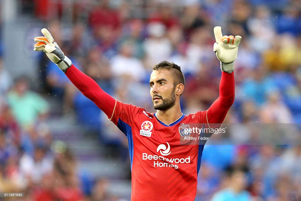 Mark Birighitti of the Jets celebrates the win during the round 20 A-League match between the Newcastle Jets and Wellington Phoenix at Hunter Stadium on February 20, 2016 in Newcastle, Australia.