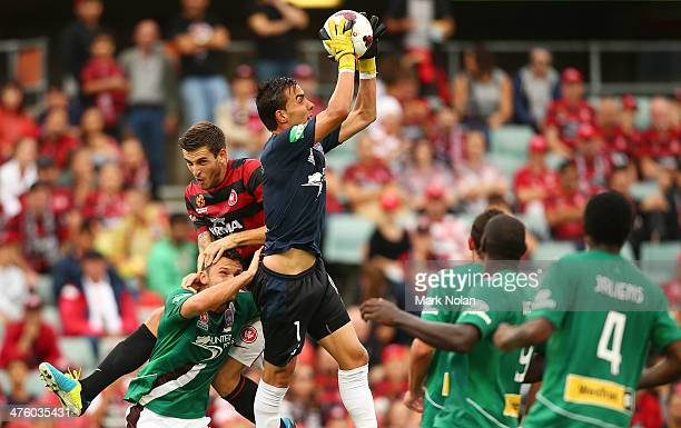 Mark Birighitti of the Jets jumps high to make a save during the round 21 ALeague match between the Western Sydney Wanderers and the Newcastle Jets...