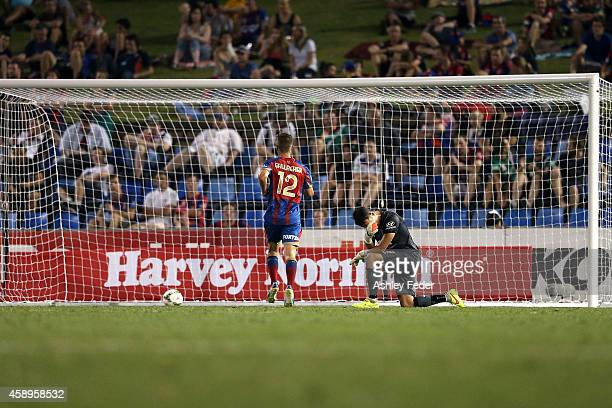 Mark Birighitti of the Jets looks dejected after conceding a goal during the round six ALeague match between the Newcastle Jets and Brisbane Roar at...