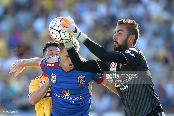 Mark Birighitti of the Jets saves a shotduring the round 21 A-League match between the Central Coast Mariners and the Newcastle Jets at Central Coast...