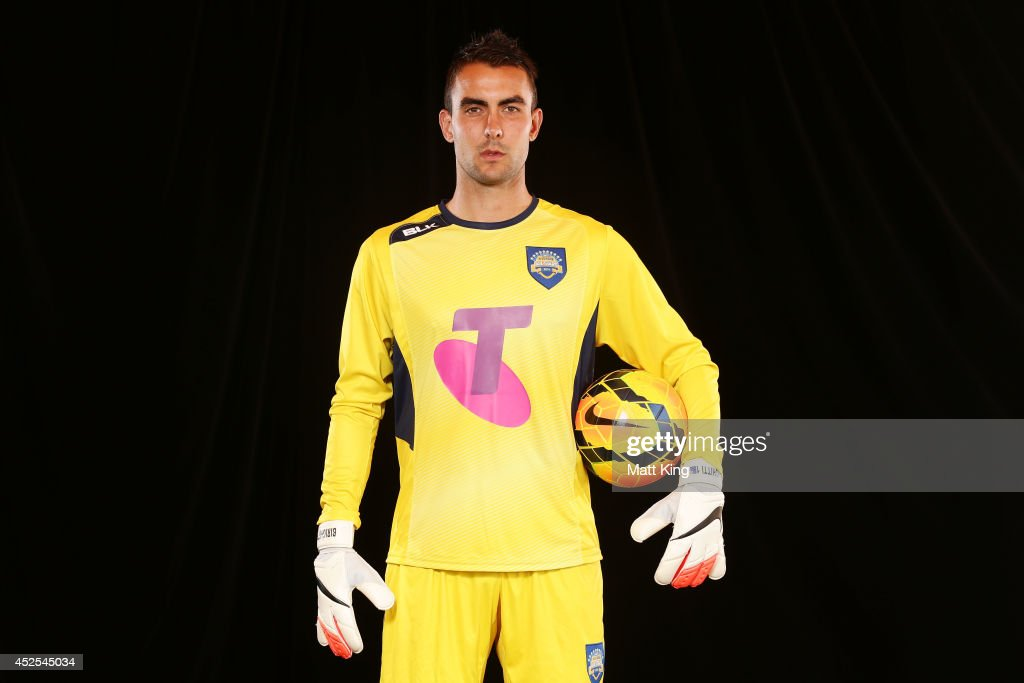 Mark Birighitti poses in the All Stars strip during a media opportunity at the Sydney Opera House on July 23, 2014 ahead of the A-League All Stars match against Juventus in Sydney, Australia.