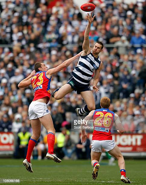 Mark Blake of the Cats wins the ball during the round 17 AFL match between the Geelong Cats and the Brisbane Lions at Skilled Stadium on July 24,...