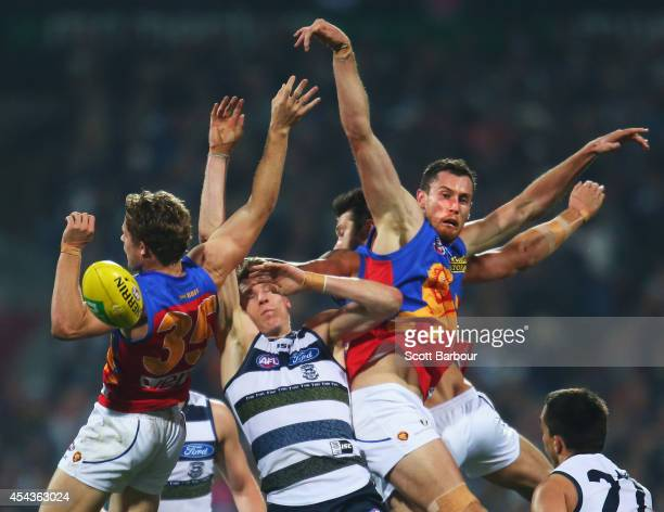 Mark Blicavs of the Cats and Matthew Leuenberger of the Lions compete for the ball during the round 23 AFL match between the Geelong Cats and the...