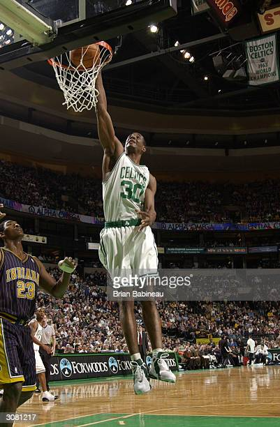Mark Blount of the Boston Celtics against the Indiana Pacers March 12, 2004 at the Fleet Center in Boston, Massachusetts. NOTE TO USER: User...