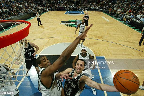 Mark Blount of the Minnesota Timberwolves guards against Manu Ginobili of the San Antonio Spurs on April 13 2007 at the Target Center in Minneapolis...