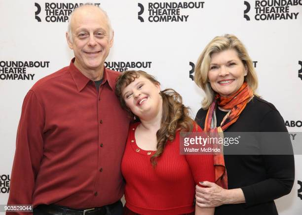 Mark Blum Jamie Brewer and Debra Monk attend the Meet Greet for the cast of Amy and the Orphans at the Roundabout Theatre rehearsal hall on January...