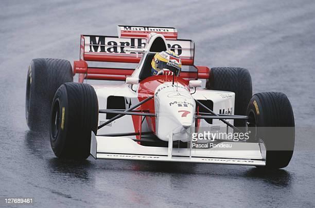 Mark Blundell drives the Marlboro McLaren Mercedes McLaren MP4-10 Mercedes 3.0 V10 in the rain during practice for the Brazilian Grand Prix on 25th...