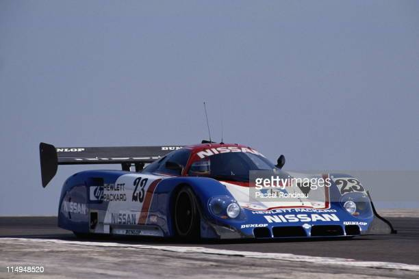 Mark Blundell drives the Nissan Motorsports International Nissan R89C during the FIA World Sportscar Prototype Championship Coupe de Dijon on 21st...