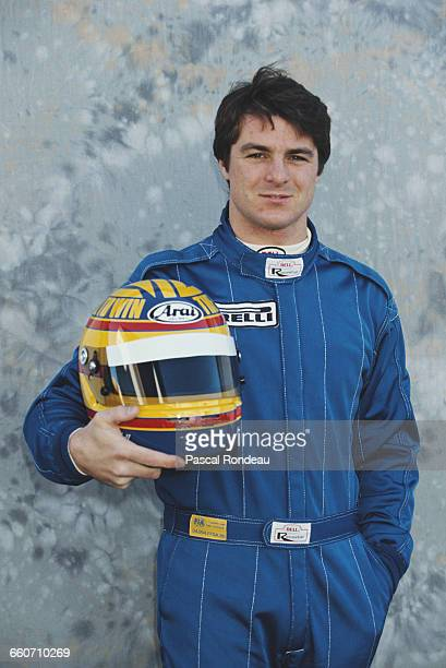 Mark Blundell of Great Britain, driver of the Motor Racing Developments Ltd Brabham BT60Y Yamaha V12 poses for a portrait during pre season testing...