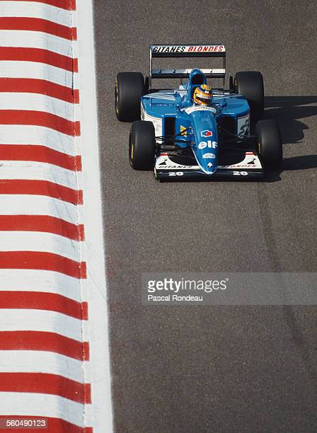 Mark Blundell of Great Britain drives the Ligier Gitanes Blondes Ligier JS39 Renault V10 during the Belgian Grand Prix on 29 August 1993 at the...