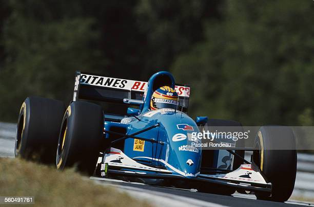 Mark Blundell of Great Britain drives the Ligier Gitanes Blondes Ligier JS39 Renault V10 during the Hungarian Grand Prix on 15 August 1993 at the...