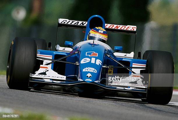 Mark Blundell of Great Britain drives the Ligier Gitanes Blondes Ligier JS39 Renault V10 during the San Marino Grand Prix on 25 April 1993 at the...