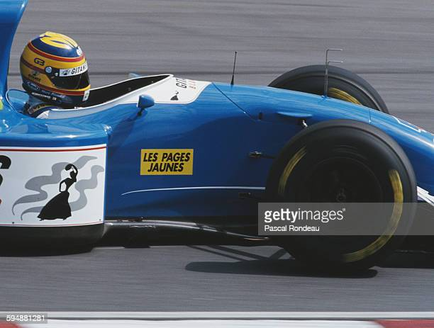 Mark Blundell of Great Britain drives the Ligier Gitanes Blondes Ligier JS39 Renault V10 during practice for the Yellow Pages South African Grand...