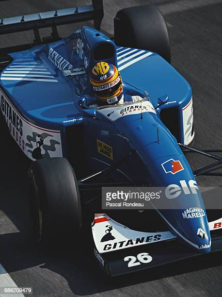 Mark Blundell of Great Britain drives the Ligier Gitanes Blondes Ligier JS39 Renault V10 during practice for the Italian Grand Prix on 11 September...