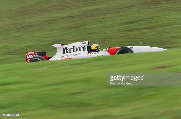 Mark Blundell of Great Britain drives the Marlboro McLaren Mercedes McLaren MP4/10 Mercedes V10 during the Brazilian Grand Prix on 26 March 1995 at...