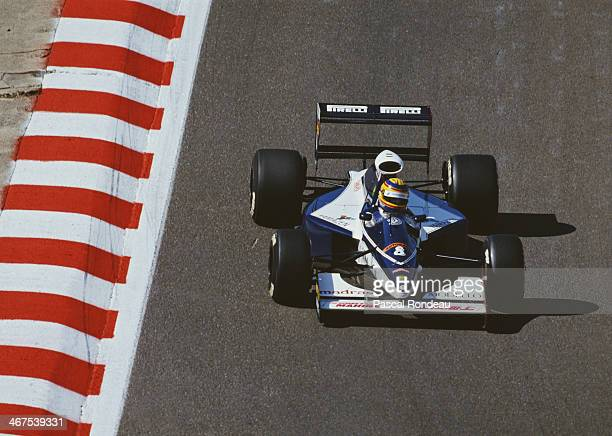 Mark Blundell of Great Britain drives the Motor Racing Developments Ltd Brabham BT60Y Yamaha V12 during the Belgian Grand Prix on 25th August 1991 at...