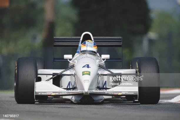 Mark Blundell of Great Britain drives the Tyrrell Team Tyrrell 022 Yamaha V10 during practice for the San Marino Grand Prix on 30th April 1994 at the...