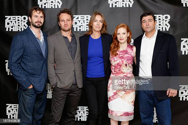 Mark Boal Jason Clarke Kathryn Bigelow Jessica Chastain and Kyle Chandler attend the Zero Dark Thirty New York Photo Call at Ritz Carlton Hotel on...