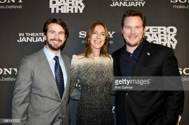 Mark Boal Kathryn Bigelow and Chris Pratt pose for photos at the Newseum during the Zero Dark Thirty Washington DC Premiere on January 8 2013 in...