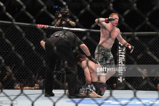 Mark Bocek celebrates after he won in the first round by tap out against Dustin Hazelett during their Lightweight bout during UFC 124 at the Centre...