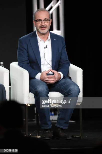 Mark Bomback of Defending Jacob speaks onstage during the Apple TV segment of the 2020 Winter TCA Tour at The Langham Huntington Pasadena on January...