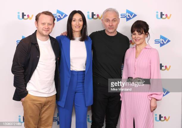 Mark Bonnar Sian Clifford Helen McCrory and Michael Jibson attend the Quiz photocall at Soho Hotel on February 24 2020 in London England