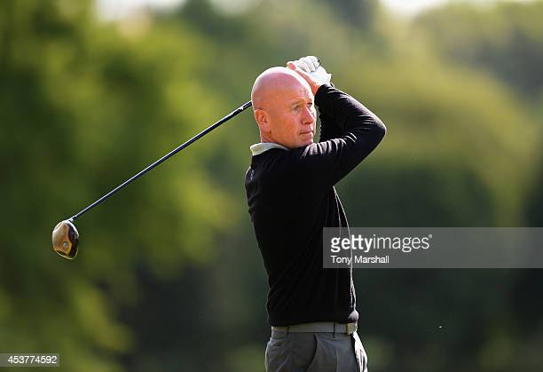 Mark Booth of Colmworth and North Beds Golf Club plays his first shot on the 1st tee during the Golfplan Insurance PGA ProCaptain Challenge East...