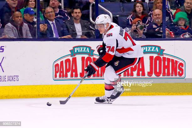 Mark Borowiecki of the Ottawa Senators controls the puck during the game against the Columbus Blue Jackets on March 17 2018 at Nationwide Arena in...