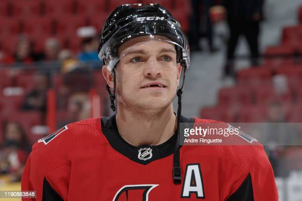 Mark Borowiecki of the Ottawa Senators looks on during warmup prior to a game against the Boston Bruins at Canadian Tire Centre on November 27 2019...