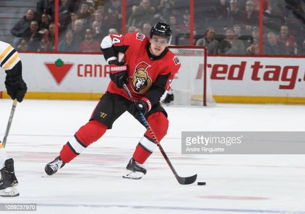 Mark Borowiecki of the Ottawa Senators skates against the Boston Bruins at Canadian Tire Centre on October 23 2018 in Ottawa Ontario Canada