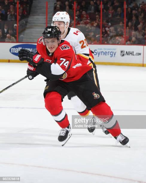 Mark Borowiecki of the Ottawa Senators skates against the Calgary Flames at Canadian Tire Centre on March 9 2018 in Ottawa Ontario Canada