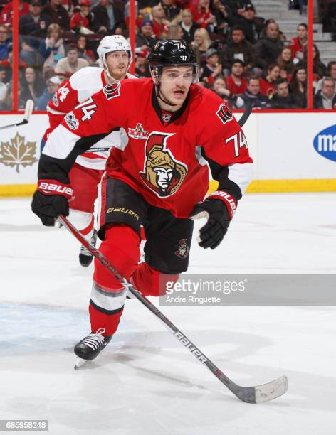 Mark Borowiecki of the Ottawa Senators skates against the Detroit Red Wings at Canadian Tire Centre on April 4 2017 in Ottawa Ontario Canada