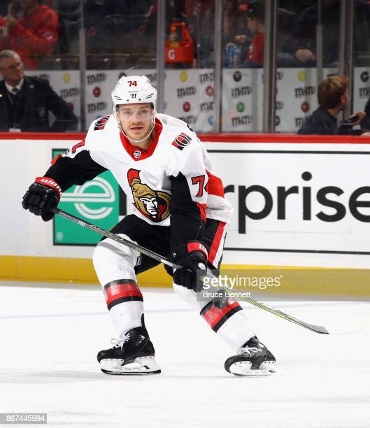 Mark Borowiecki of the Ottawa Senators skates against the New Jersey Devils at the Prudential Center on October 27 2017 in Newark New Jersey The...