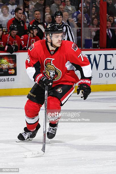 Mark Borowiecki of the Ottawa Senators skates against the Toronto Maple Leafs during an NHL game at Canadian Tire Centre on February 6 2016 in Ottawa...