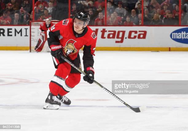Mark Borowiecki of the Ottawa Senators skates against the Winnipeg Jets at Canadian Tire Centre on April 2 2018 in Ottawa Ontario Canada
