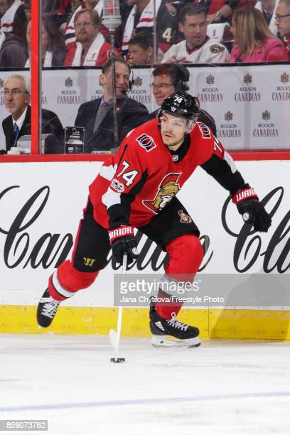 Mark Borowiecki of the Ottawa Senators skates with the puck against the Washington Capitals at Canadian Tire Centre on October 5 2017 in Ottawa...