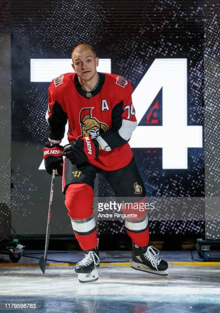 Mark Borowiecki of the Ottawa Senators steps onto the ice during player introductions on opening night against the New York Rangers at Canadian Tire...