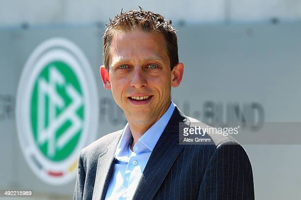Mark Borsch poses prior to a press conference of the German FIFA 2014 World Cup referees at DFB headquarters on May 19 2014 in Frankfurt am Main...