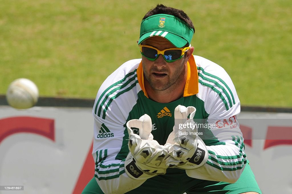 Mark Boucher during the South African Proteas nets session at SuperSport Park, Centurion on October 17, 2011 in Pretoria, South Africa.