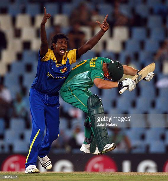 Mark Boucher of South Africa collides with the successfully appealing Angelo Matthews of Sri Lanka during The ICC Champions Trophy Group B match...