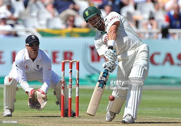 Mark Boucher of South Africa drives over longon during day 1 of the 3rd test match between South Africa and England at Newlands Cricket Stadium on...