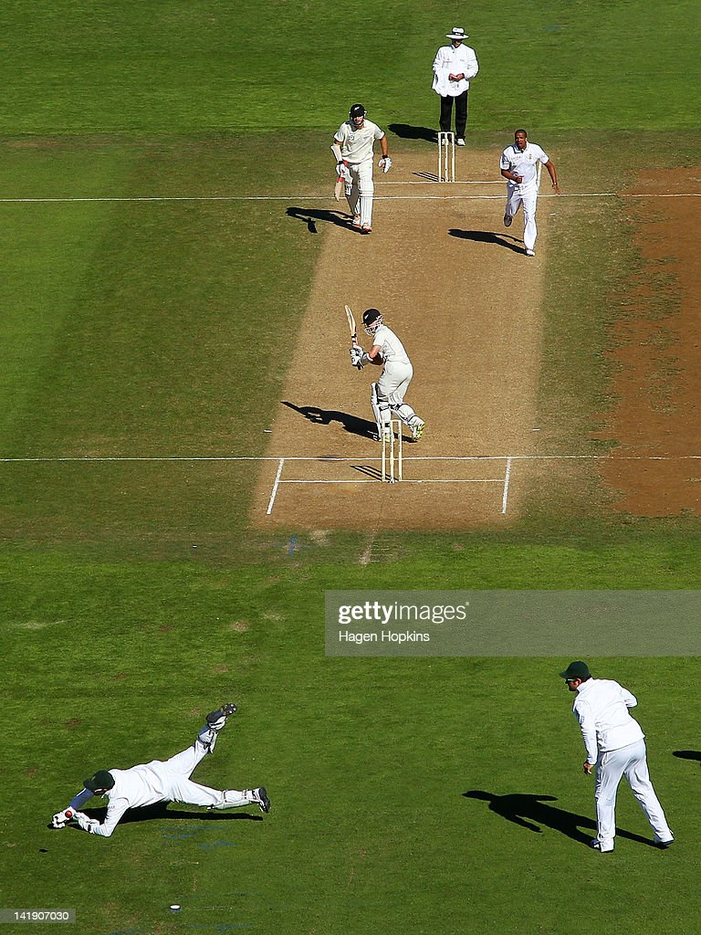 Mark Boucher of South Africa fields the ball during day four of the Third Test match between New Zealand and South Africa at Basin Reserve on March 26, 2012 in Wellington, New Zealand.