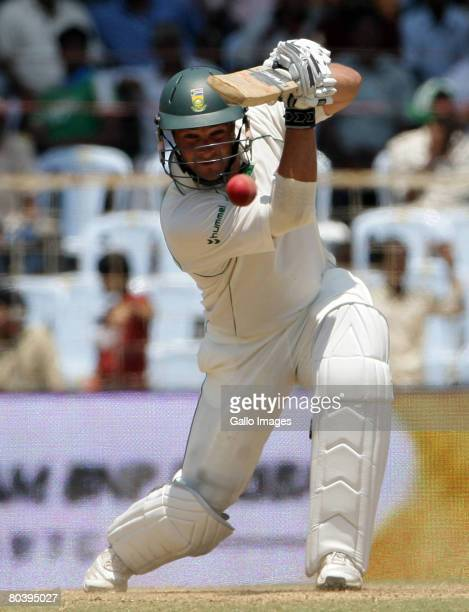 Mark Boucher of South Africa hits on his way to 50 runs during day 2 of the 1st test match between India and South Africa held at MA Chidambaram...