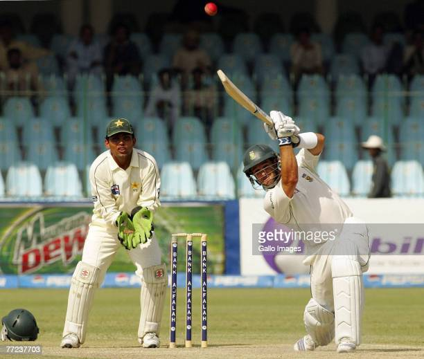 Mark Boucher of South Africa in action during day two of the second test match series between Pakistan and South Africa at the Gaddafi Stadium on...