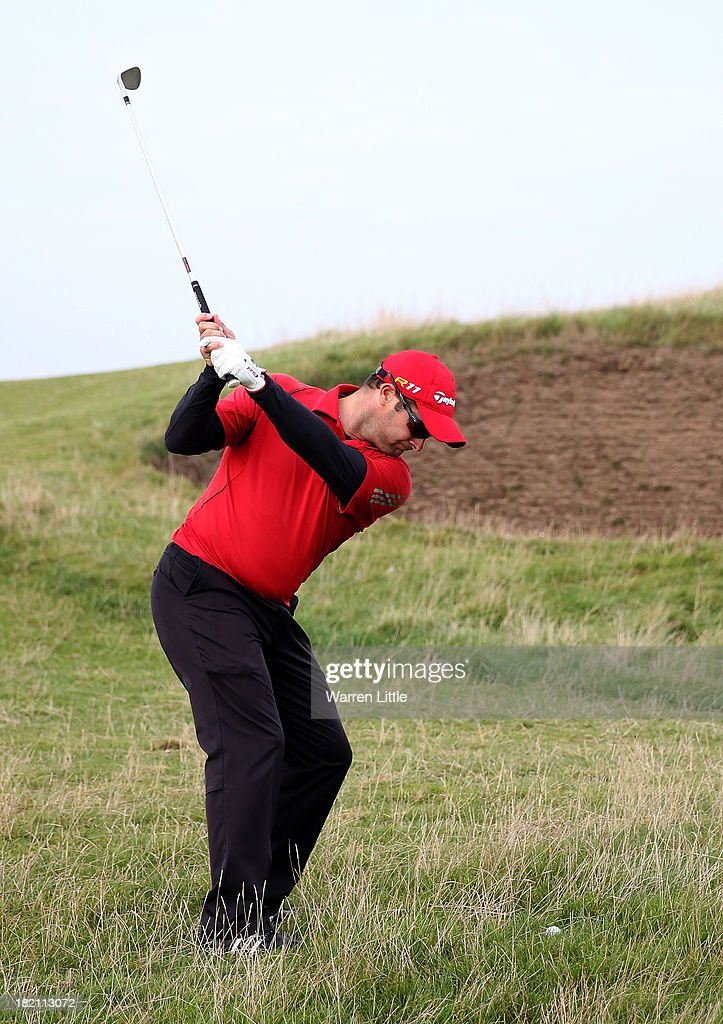 Mark Boucher plays his second shot to the fourth hole during the third round of the Alfred Dunhill Links Championship on The Old Course, at St Andrews on September 28, 2013 in St Andrews, Scotland.