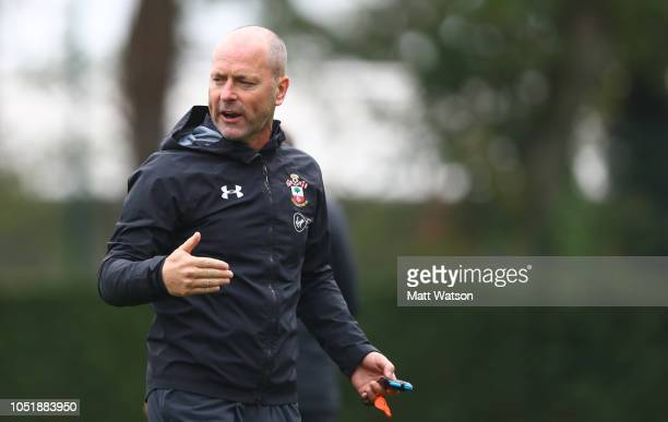 Mark Bowen during a Southampton FC training session at the Staplewood Campus on October 11 2018 in Southampton England