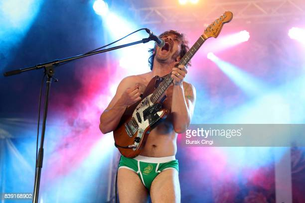Mark Bowen of Idles performs on day one of Reading Festival at Richfield Avenue on August 25 2017 in Reading England