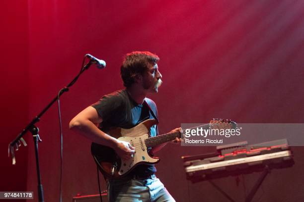 Mark Bowen of Idles performs on stage at Usher Hall on June 14 2018 in Edinburgh Scotland