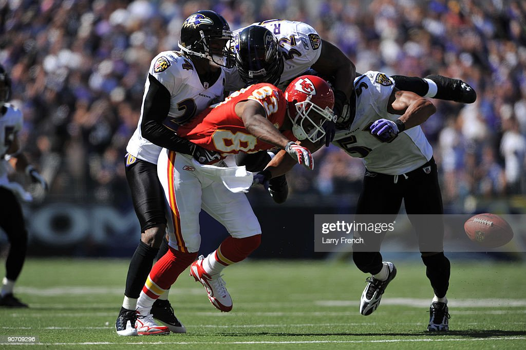 Mark Bradley #83 of the Kansas City Chiefs loses the ball after his forward movement was stopped and the play blown dead during the game against the Baltimore Ravens at M&T Bank Stadium on September 13, 2009 in Baltimore, Maryland. The Ravens defeated the Chiefs 38-24.