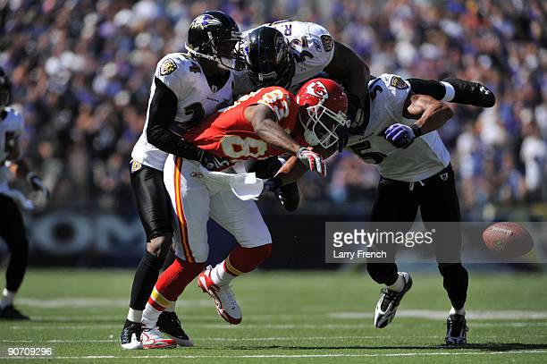 Mark Bradley of the Kansas City Chiefs loses the ball after his forward movement was stopped and the play blown dead during the game against the...